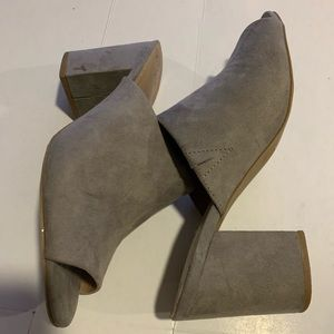 A New Day suede grey chunky heel mules
